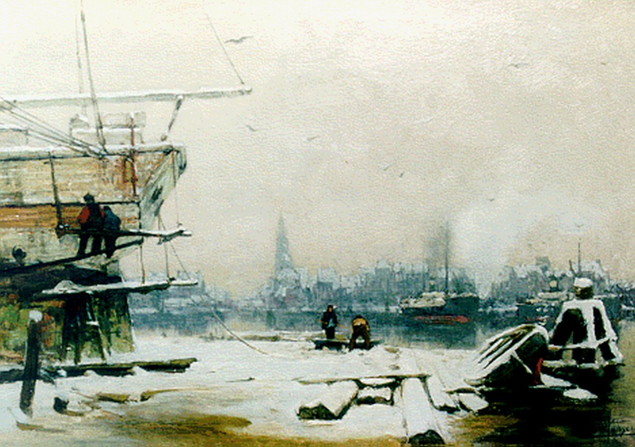 Jansen H.W.  | Hendrik Willebrord Jansen, The harbour of Amsterdam in winter, oil on canvas 41.6 x 57.4 cm, signed l.r.