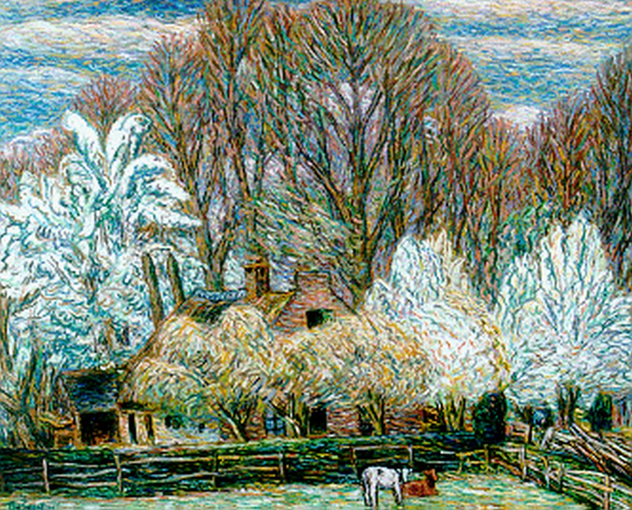 Gestel L.  | Leendert 'Leo' Gestel, A farm in spring, Eemnes, pastel on paper 61.0 x 76.5 cm, signed l.l. and dated '39