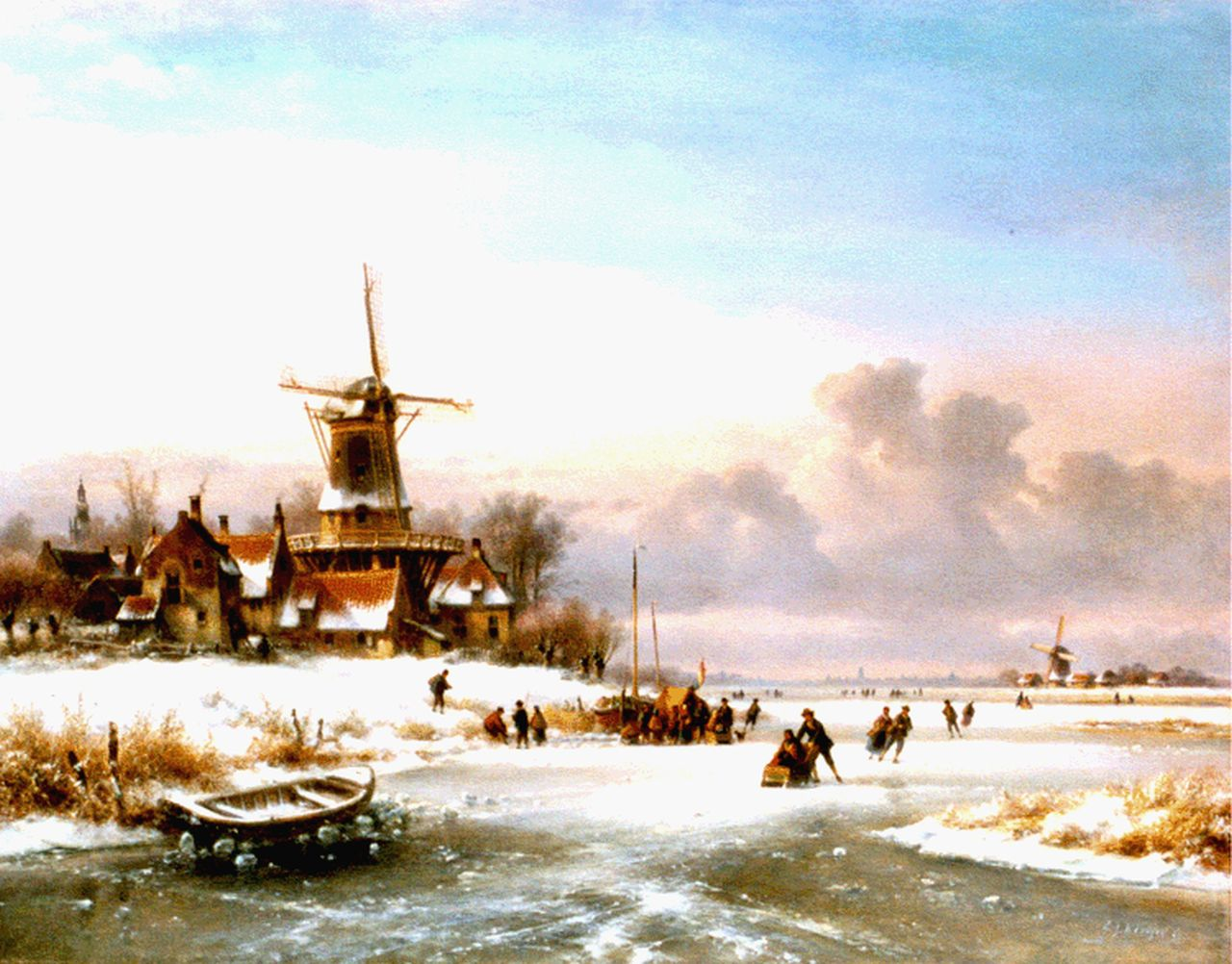 Kleijn L.J.  | Lodewijk Johannes Kleijn, A winter landscape with skaters by a 'koek en zopie', oil on canvas 70.3 x 90.2 cm, signed l.r.