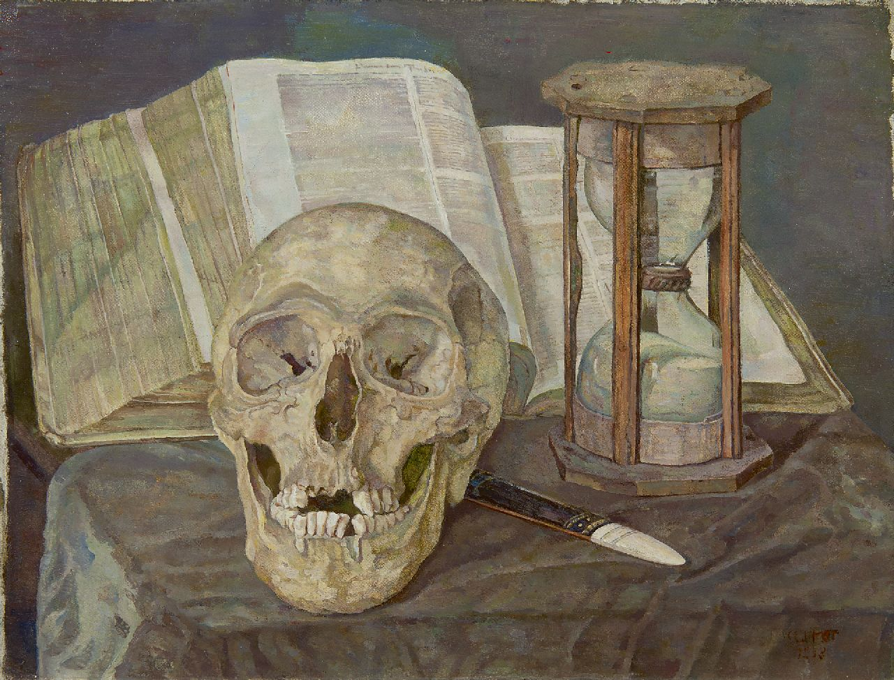 Corrie Pabst | Vanitas still life, oil on canvas, 30.5 x 40.2 cm, signed l.r. and dated 1908