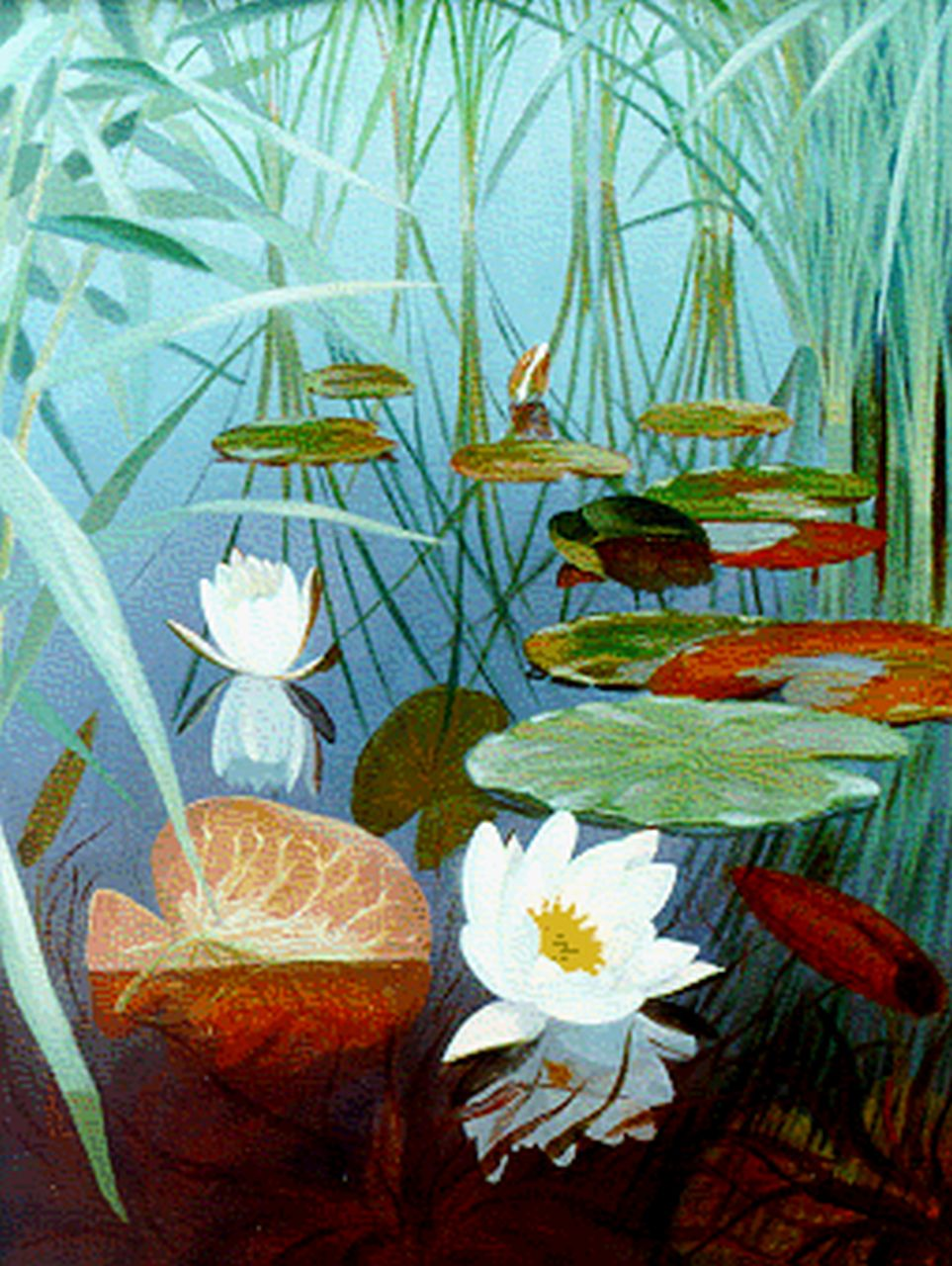 Smorenberg D.  | Dirk Smorenberg, water lilies, oil on canvas 51.1 x 39.2 cm, signed l.r.