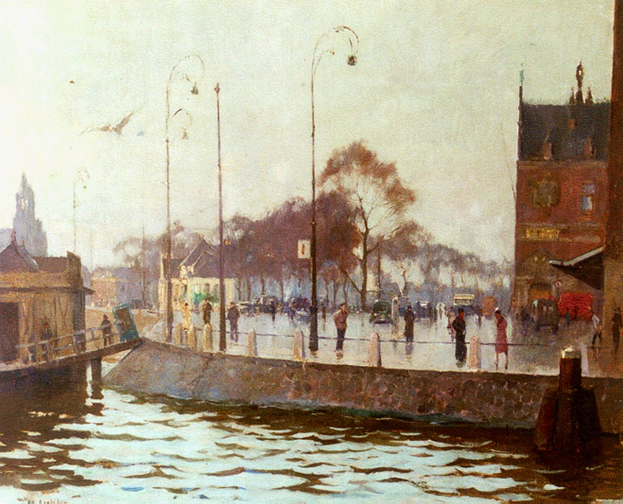 Ligtelijn E.J.  | Evert Jan Ligtelijn, View of the station square, Amsterdam, oil on canvas 48.7 x 60.3 cm, signed l.l. and on the reverse