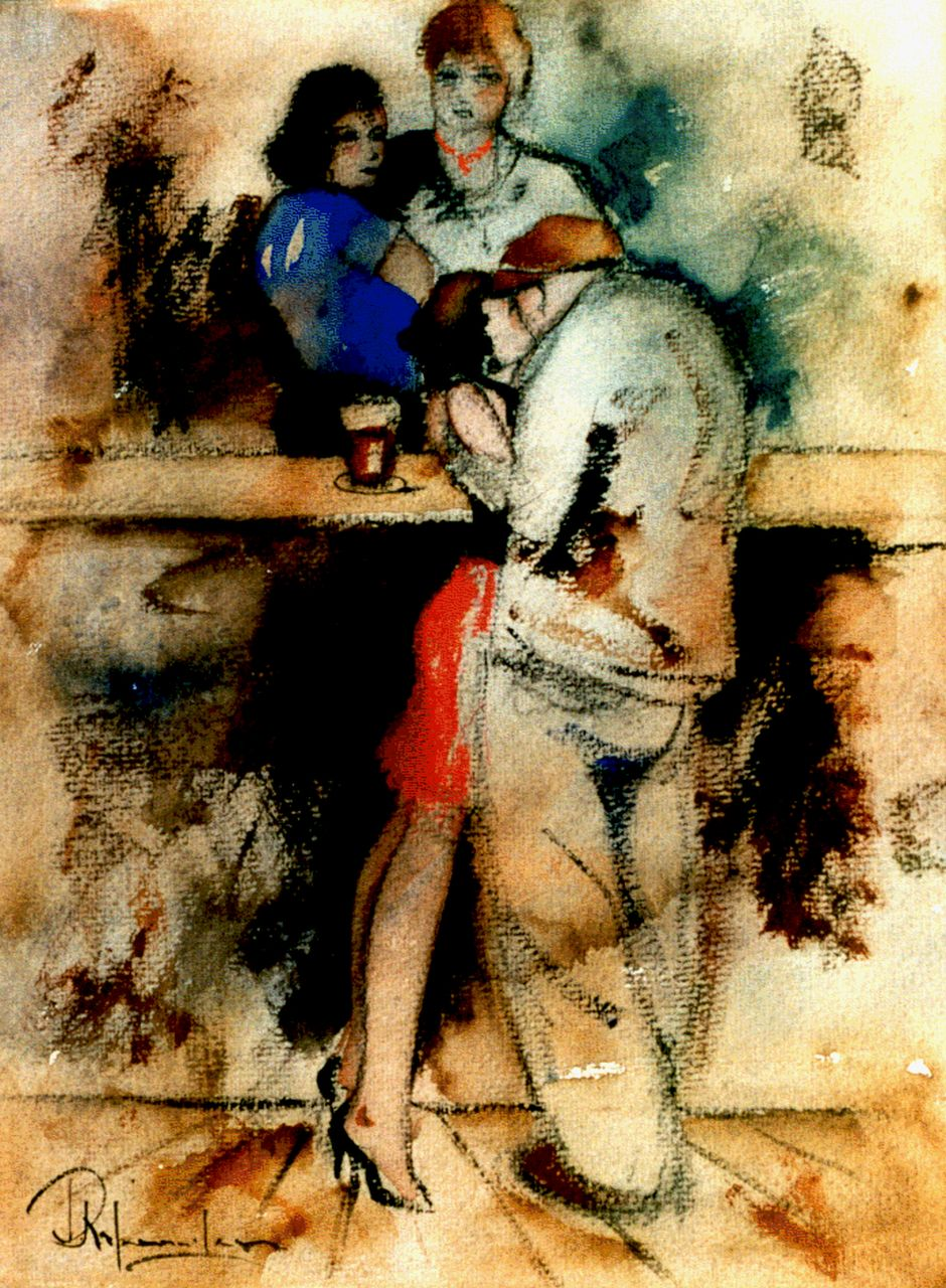 Rijlaarsdam J.  | Jan Rijlaarsdam, A fond embrace at the bar, black chalk and watercolour on paper 35.0 x 27.0 cm, signed l.l.