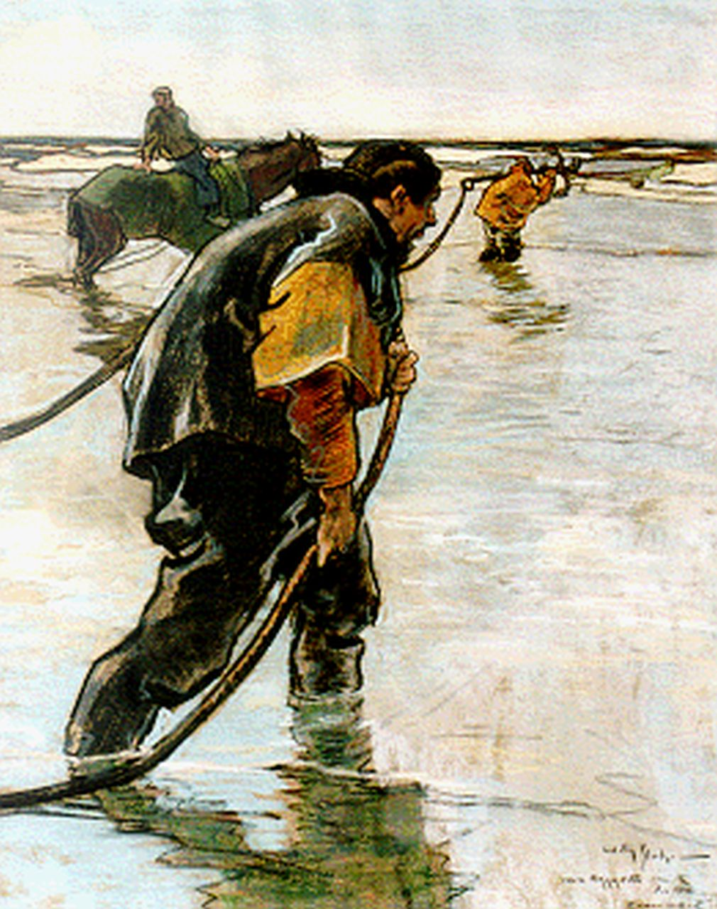 Sluiter J.W.  | Jan Willem 'Willy' Sluiter, Fishermen at work, pastel on paper 48.0 x 38.5 cm, signed l.r. and dated January 1915