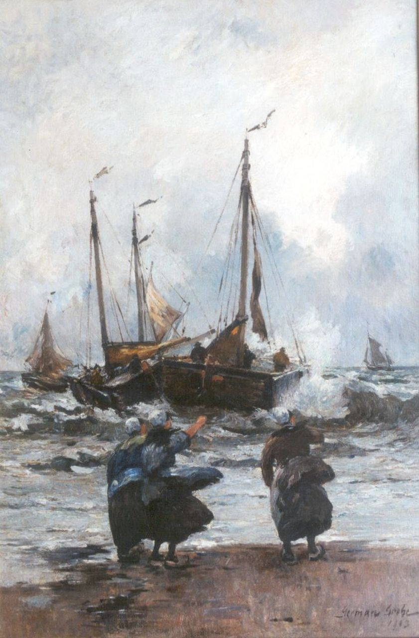 Grobe P.G.  | Philipp 'German' Grobe, The departure of the fleet, oil on canvas 90.3 x 60.5 cm, signed l.r. and dated 1903