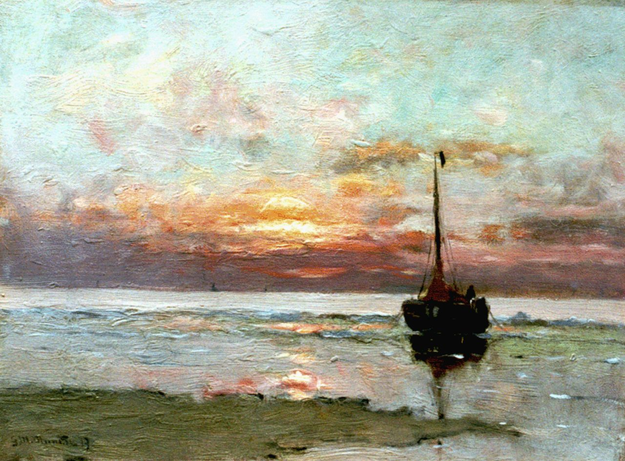 Munthe G.A.L.  | Gerhard Arij Ludwig 'Morgenstjerne' Munthe, Moored 'bomschuit' by sunset, oil on canvas 30.6 x 41.0 cm, signed l.l. and dated '19
