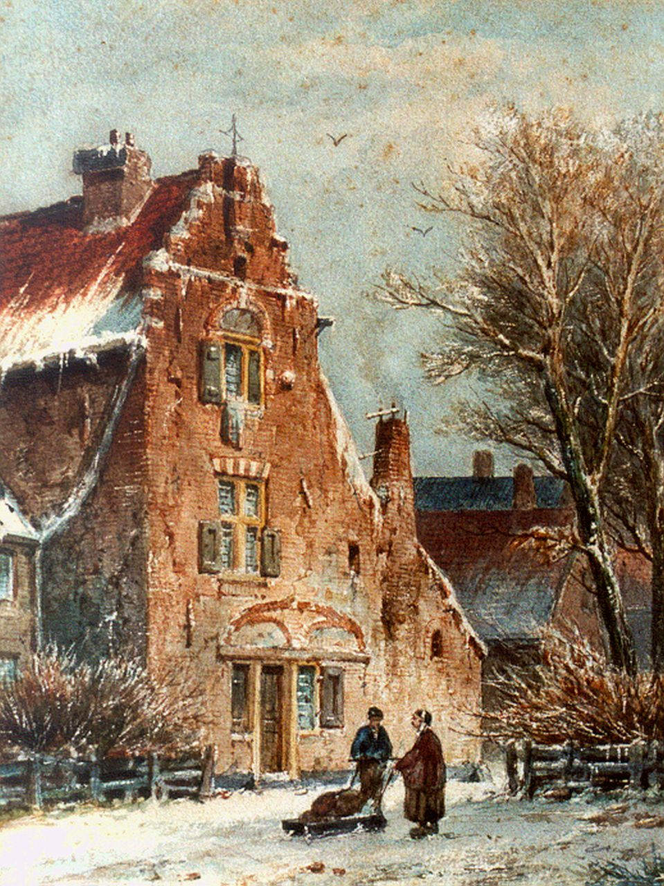 Eversen A.  | Adrianus Eversen, Figures in a snow-covered town, watercolour on paper 27.3 x 21.3 cm, signed l.l. and on the reverse