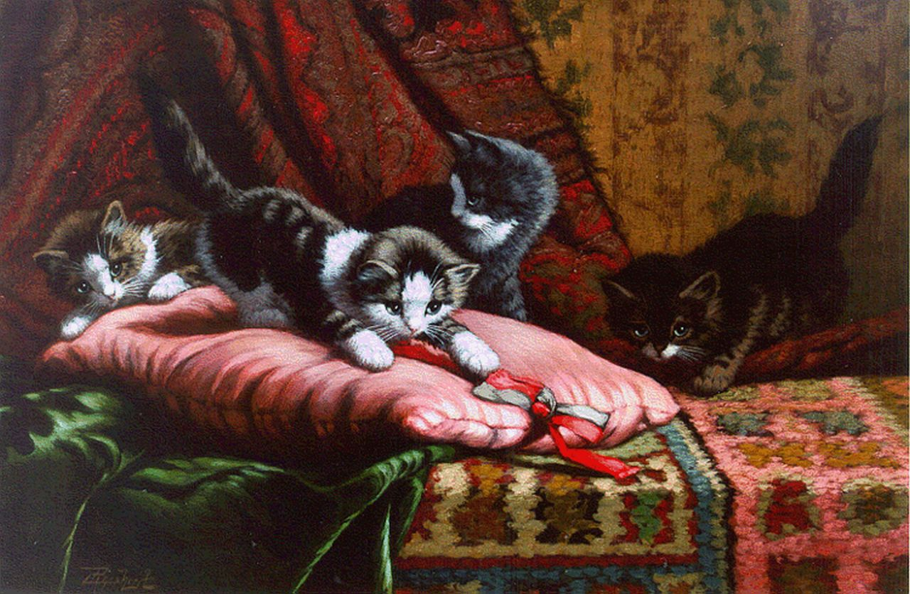 Raaphorst C.  | Cornelis Raaphorst, Four kittens playing, oil on canvas 40.0 x 60.2 cm, signed l.l.