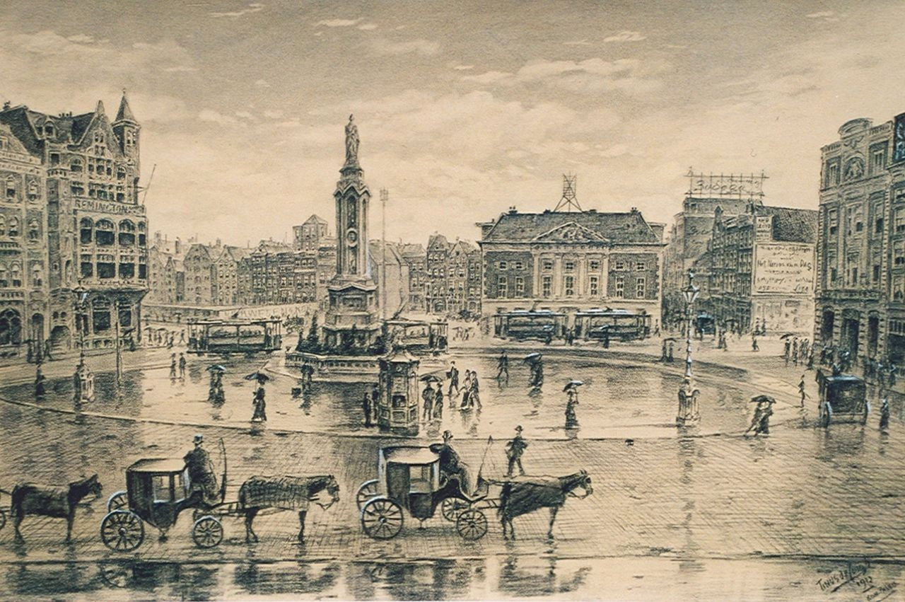 Jongh M.J. de | Martinus Johannes 'Tinus' de Jongh, The Dam square in Amsterdam with the Oude Waag, black chalk and gouache on paper 42.0 x 63.0 cm, signed l.r. and dated 1912
