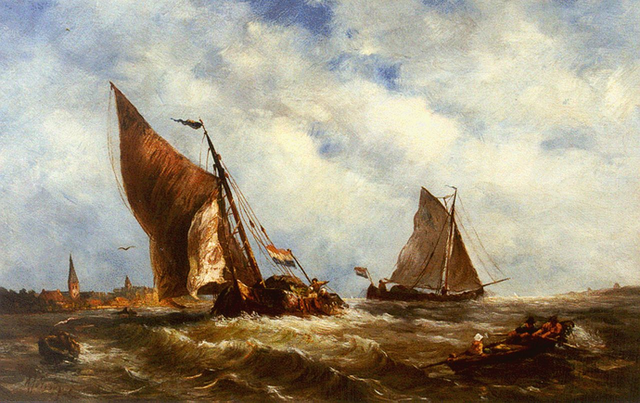 Prooijen A.J. van | Albert Jurardus van Prooijen, Shipping on choppy waters, oil on panel 23.6 x 37.1 cm, signed l.l.
