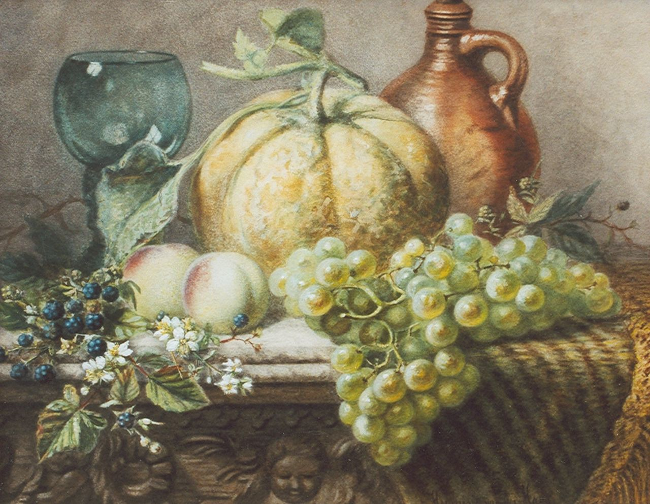 Charlotte Petronella 'Hermina' van der Haas | Still life with fruit and a rummer, watercolour on paper, 39.1 x 48.8 cm, signed l.r.
