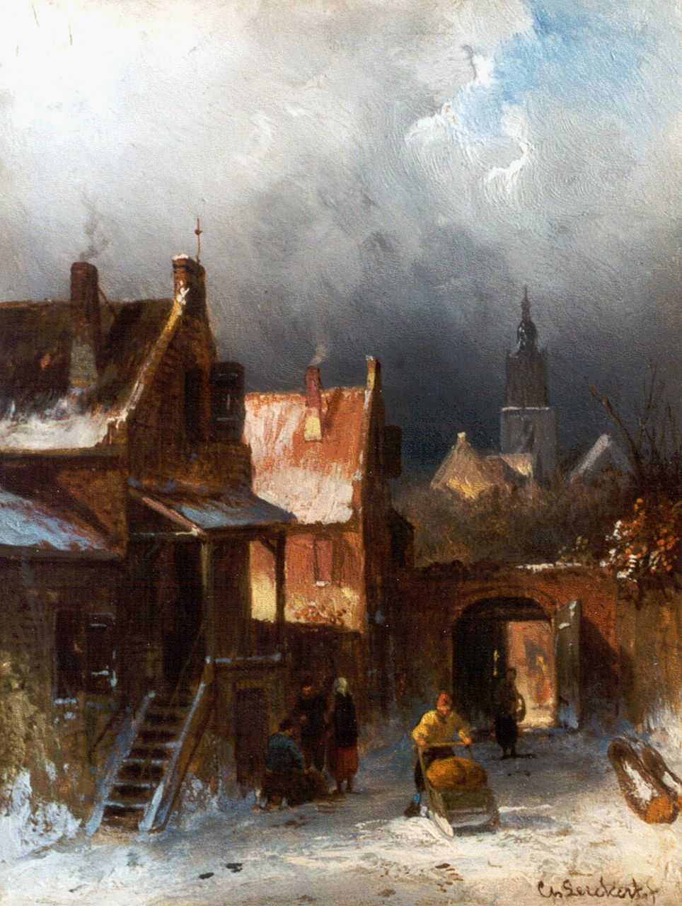 Leickert C.H.J.  | 'Charles' Henri Joseph Leickert, A snow-covered town, oil on panel 20.6 x 15.7 cm, signed l.r.