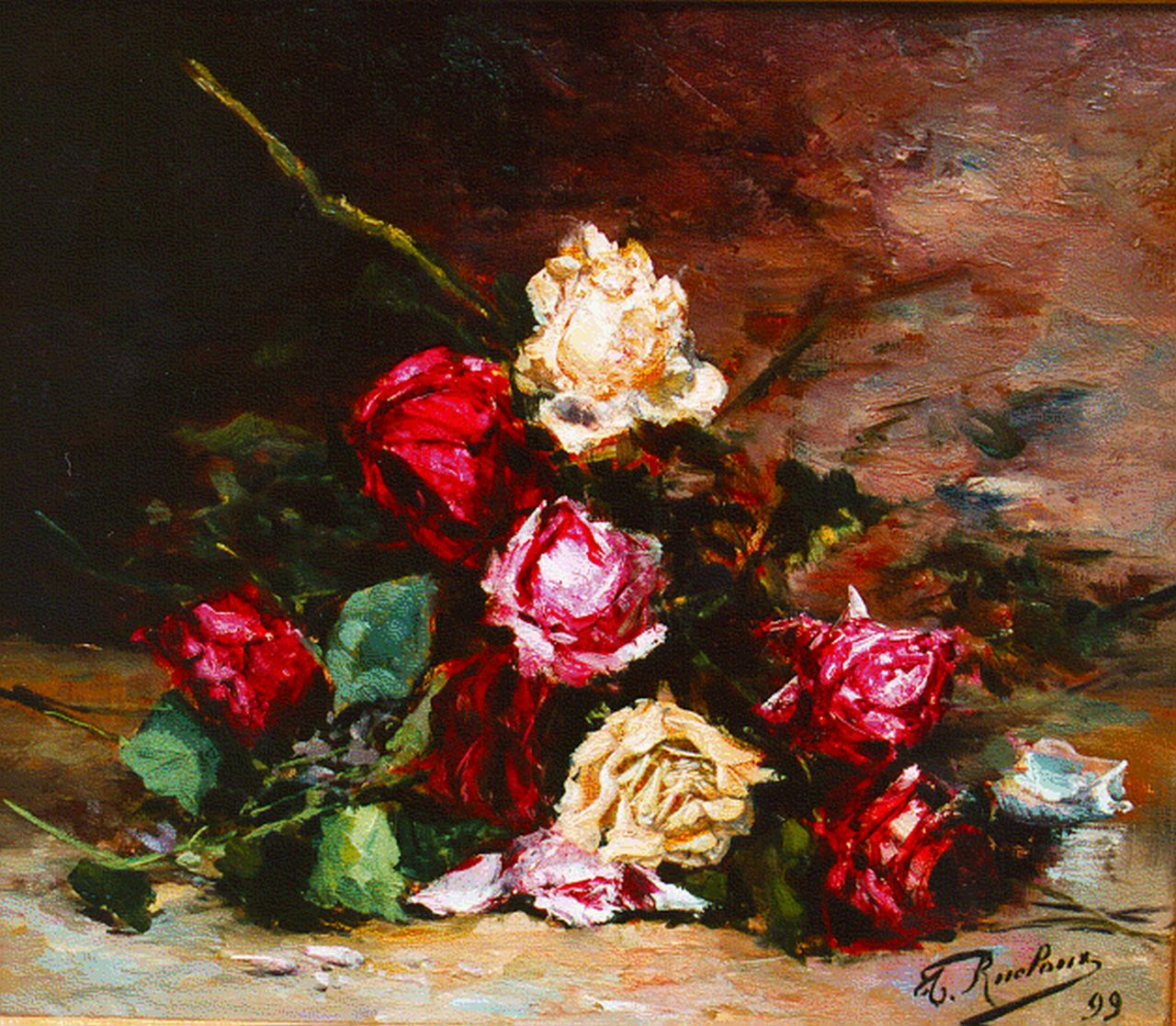 Thérèse Rucloux | A still life with roses, oil on canvas, 36.0 x 43.5 cm, signed l.r.