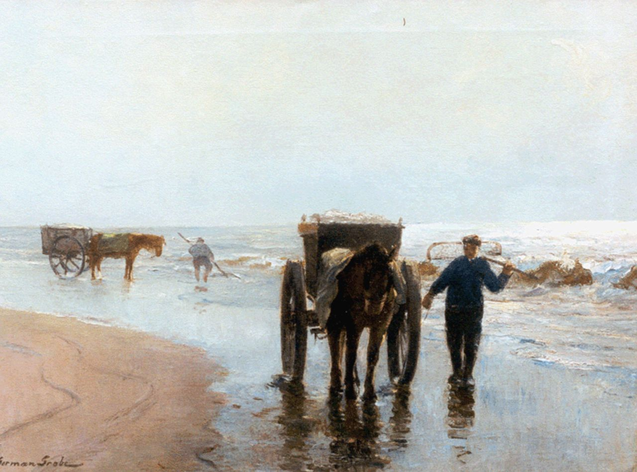 Grobe P.G.  | Philipp 'German' Grobe, Shell-gatherers on the beach of Katwijk, oil on canvas 55.9 x 74.6 cm, signed l.l.