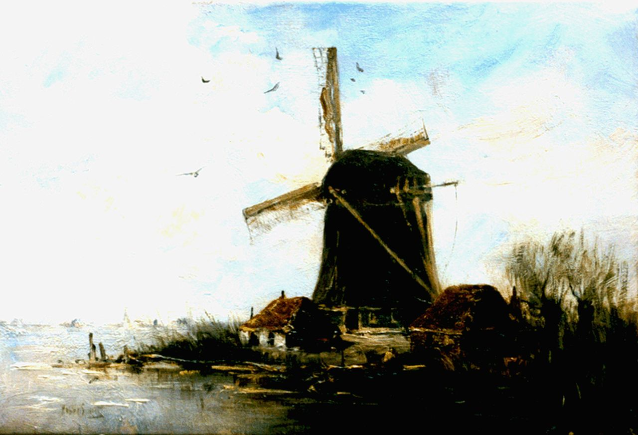 Smith H.  | Hobbe Smith, A windmill in a polder landscape, oil on canvas 21.3 x 31.8 cm, signed l.l.
