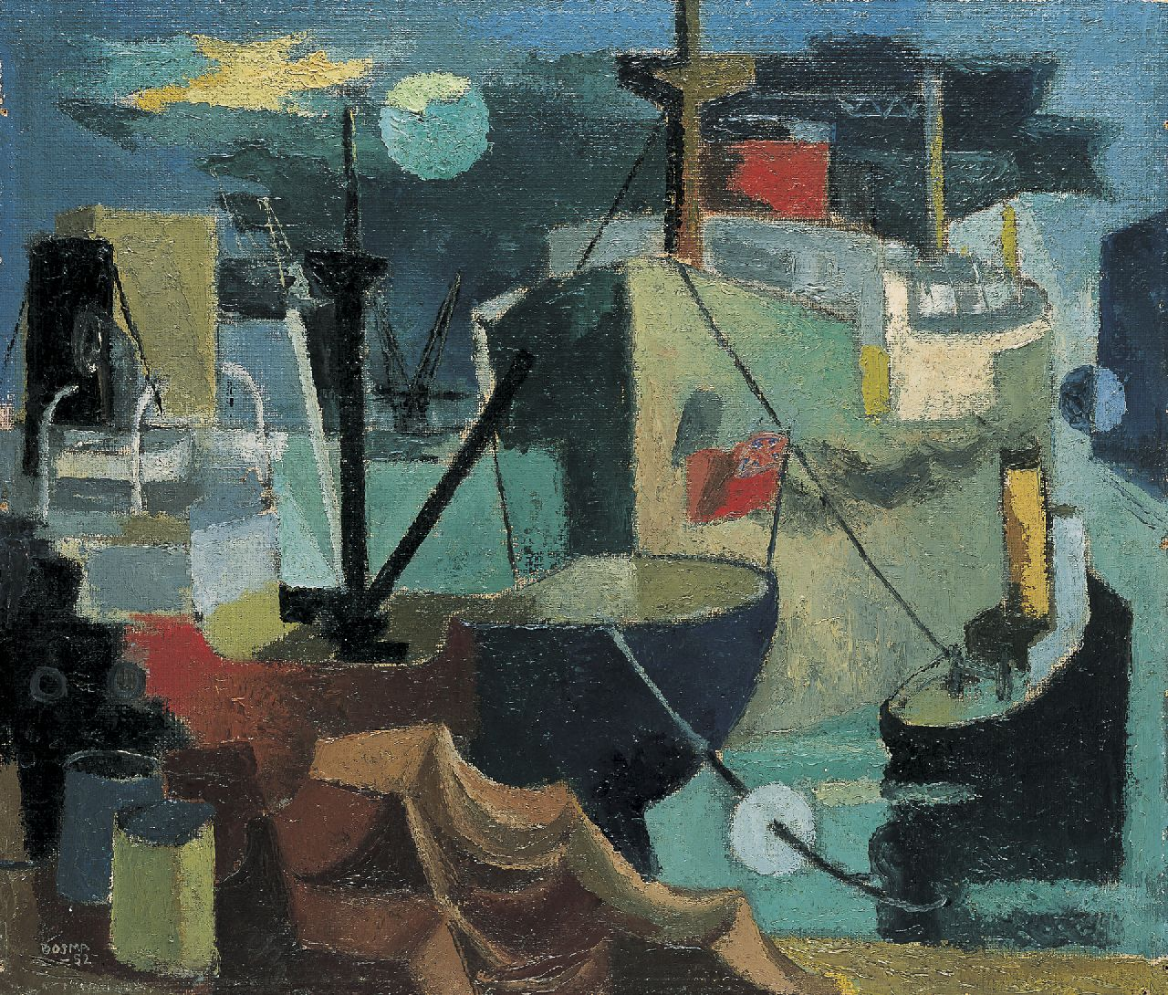 Bosma W.  | Willem 'Wim' Bosma, 'Havenbeeld no.3', oil on canvas laid down on painter's board 55.3 x 64.8 cm, signed l.l. and dated '52