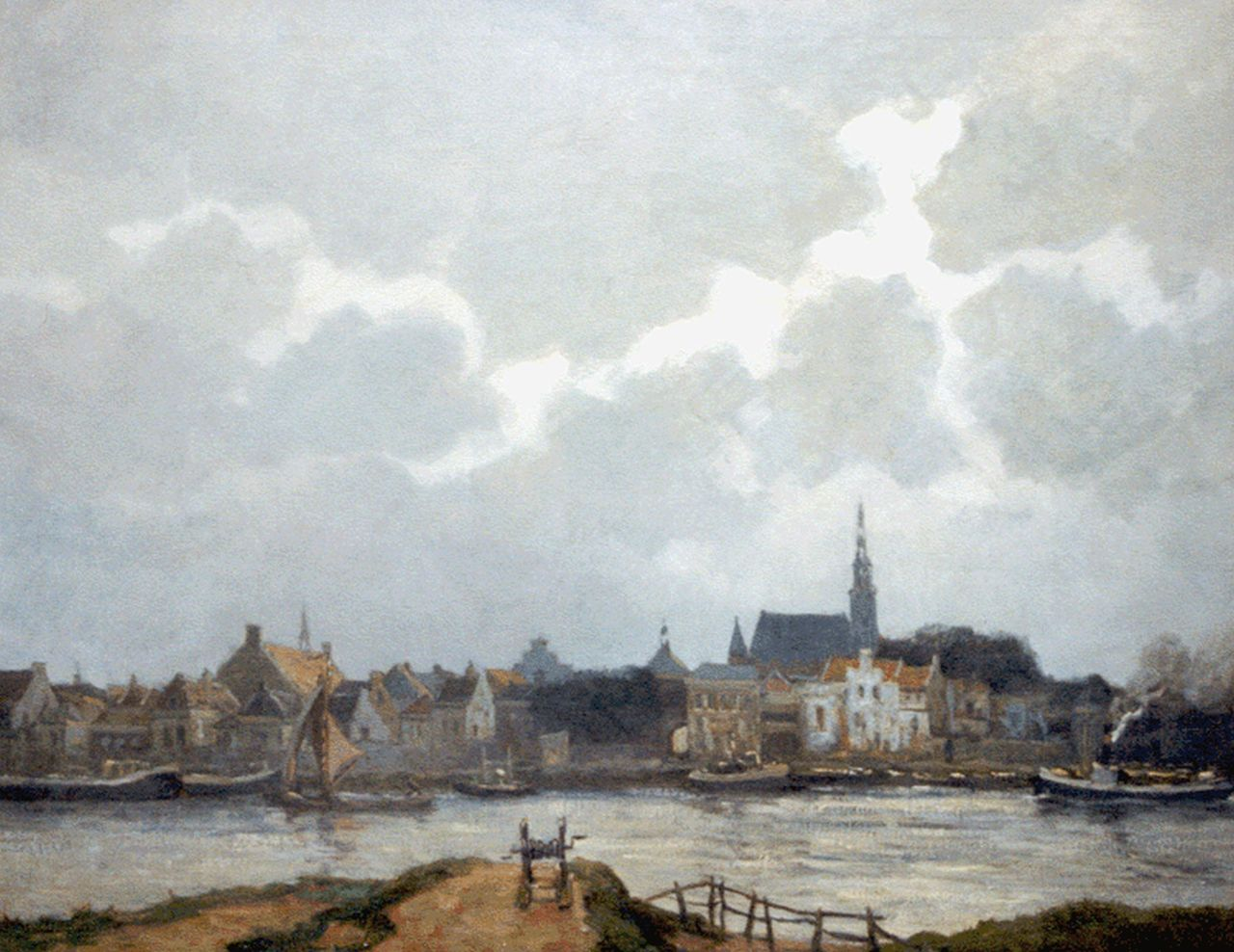 Martin van Waning | A Dutch town along a waterway, oil on canvas, 80.5 x 100.2 cm, signed l.r.