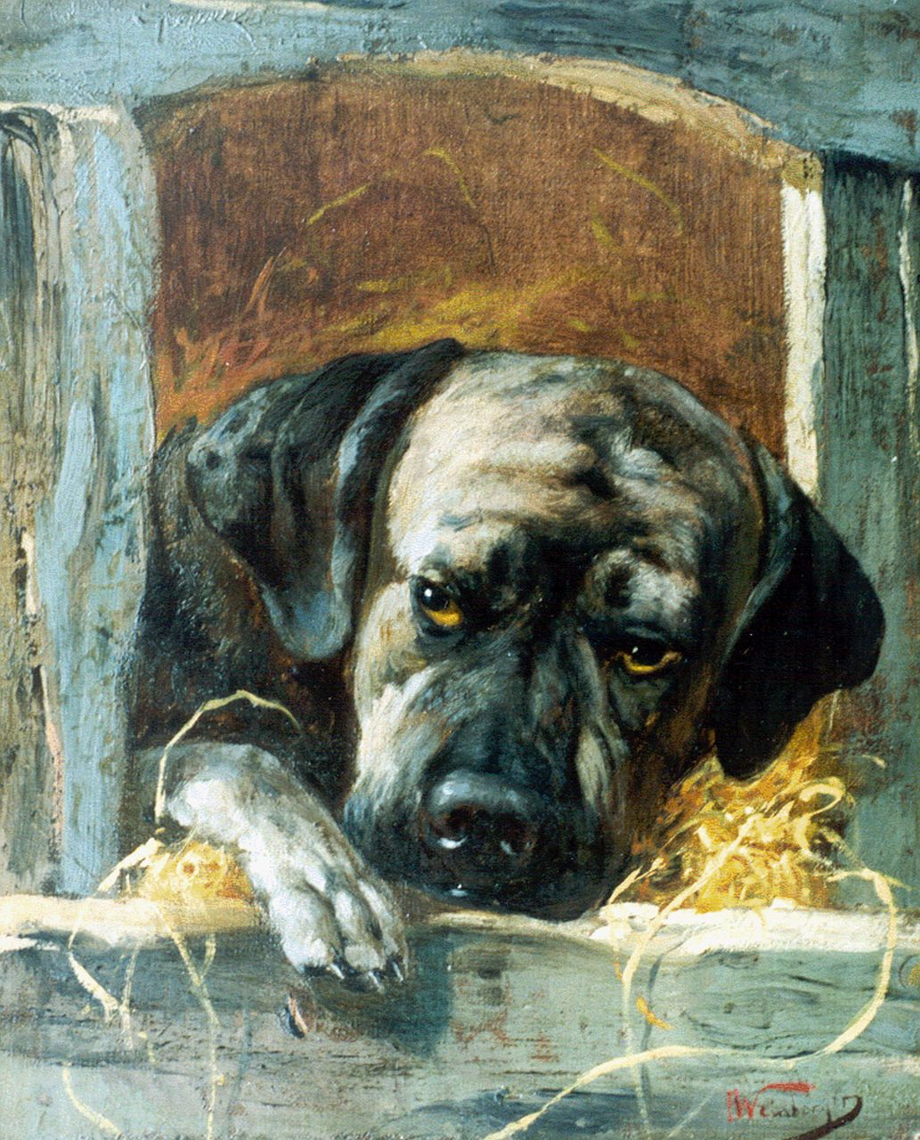 Anton Weinberger | The watchdog, oil on canvas, 32.2 x 26.7 cm, signed l.r.