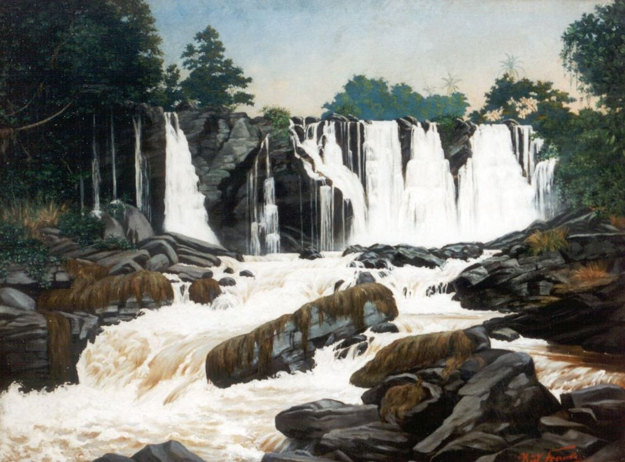 Francke R.  | Rudolph Francke, Waterfalls, Central Africa, oil on canvas laid down on panel 75.0 x 100.8 cm, signed l.r. and dated '98
