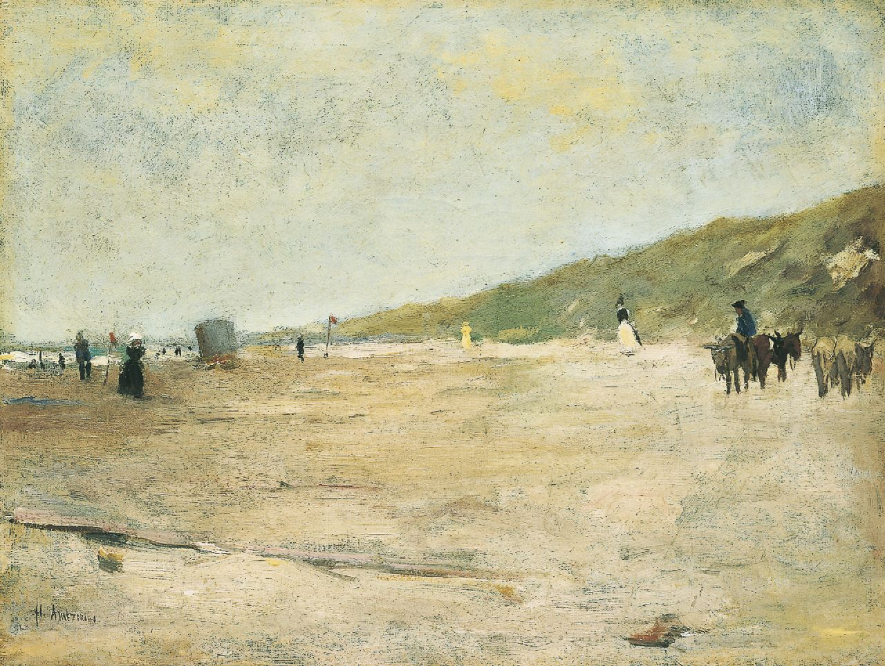 Arntzenius P.F.N.J.  | Pieter Florentius Nicolaas Jacobus 'Floris' Arntzenius, Beach scene with donkies, oil on canvas 31.5 x 41.3 cm, signed l.l.