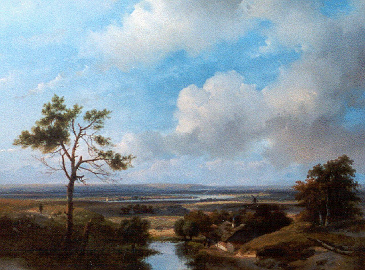 Schelfhout A.  | Andreas Schelfhout, A panoramic dune landscape in the surroundings of Haarlem, oil on panel 42.7 x 56.0 cm, signed l.l.