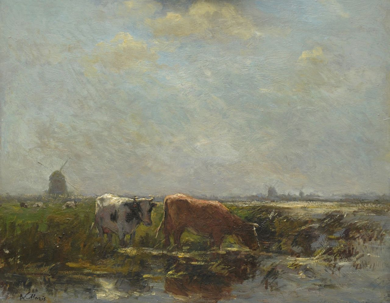 Maris W.  | Willem Maris, Polder landscape with cattle and windmills, oil on panel 38.3 x 47.2 cm, signed l.l.