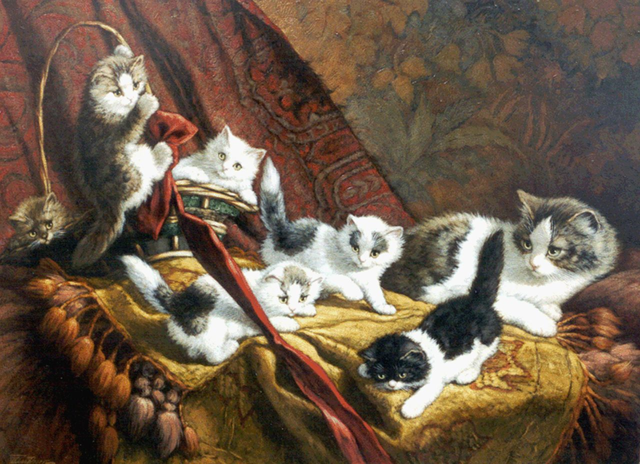 Raaphorst C.  | Cornelis Raaphorst, A cat with six kittens, oil on canvas 60.5 x 80.5 cm, signed l.l.