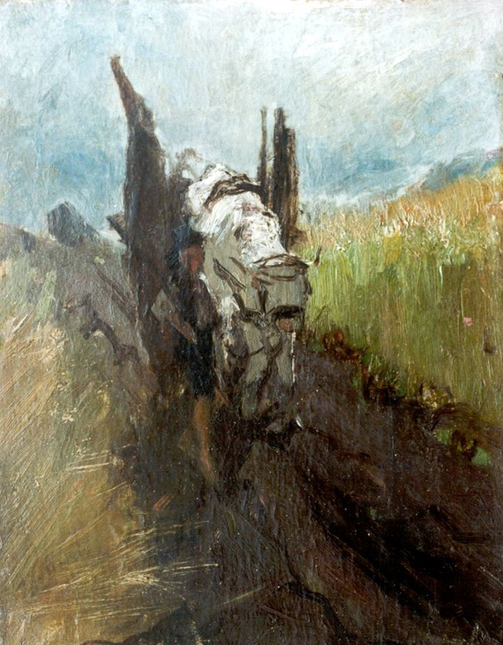 Maris W.  | Willem Maris, Farmer with cattle on a country road, oil on paper laid down on panel 22.1 x 17.2 cm, signed l.l.