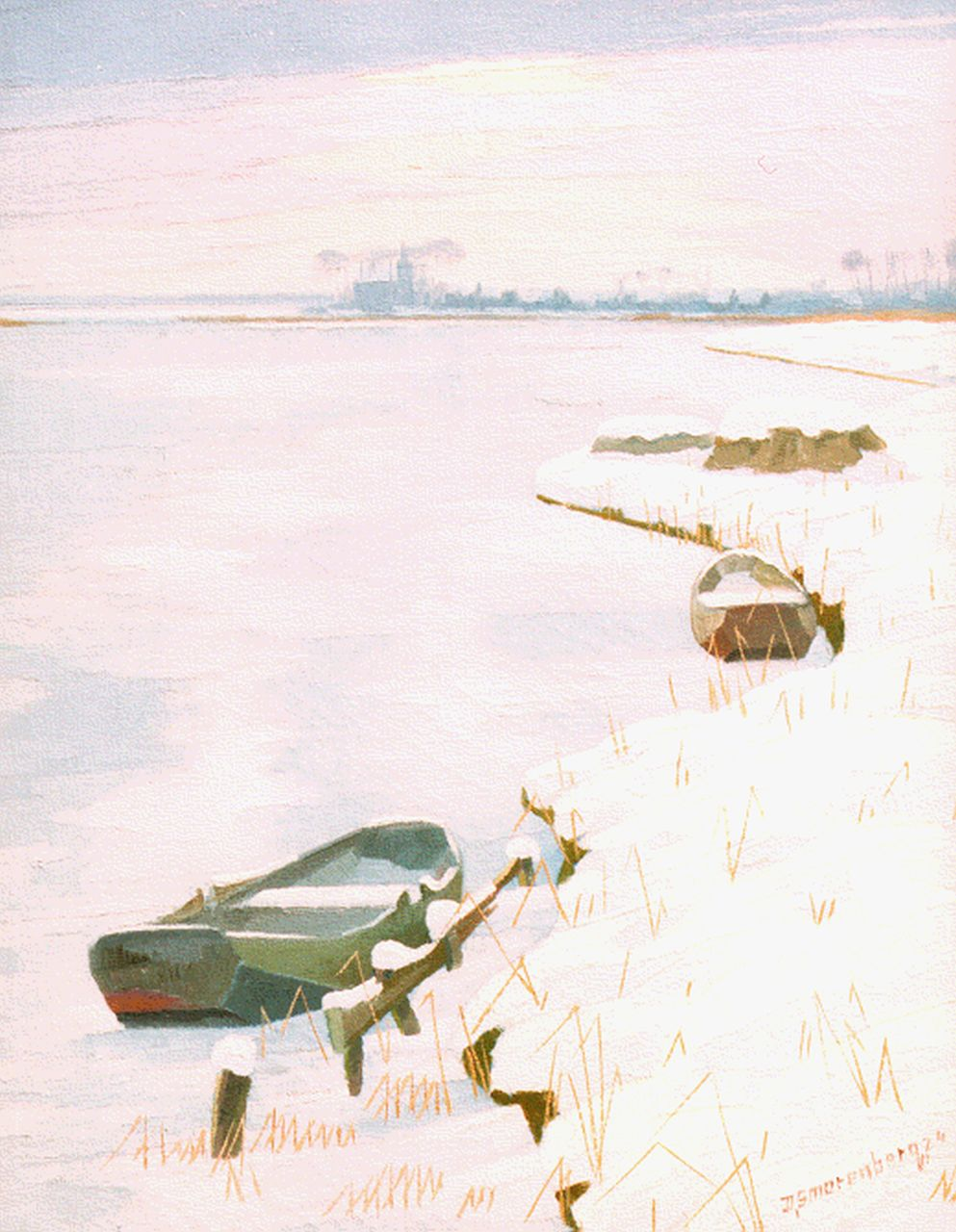 Smorenberg D.  | Dirk Smorenberg, A winter landscape with moored barges, oil on canvas 44.3 x 34.6 cm, signed l.r. and dated '24