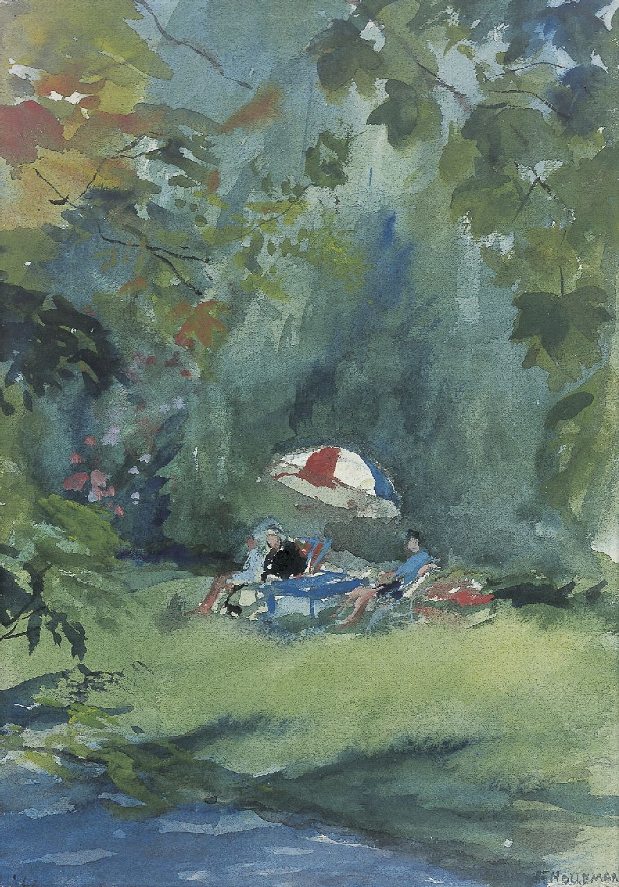 Holleman F.  | Frida Holleman, A picnic, watercolour on paper 31.0 x 22.0 cm, signed l.r. and dated '63