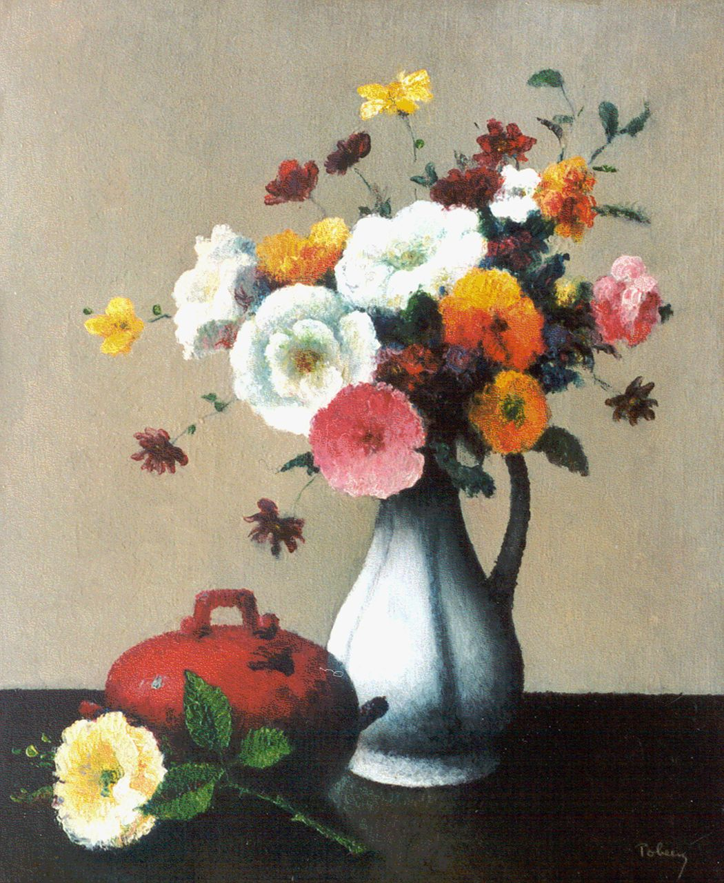 Tobeen F.  | Félix Tobeen, A flower still life, oil on canvas 47.0 x 38.7 cm, signed l.r.