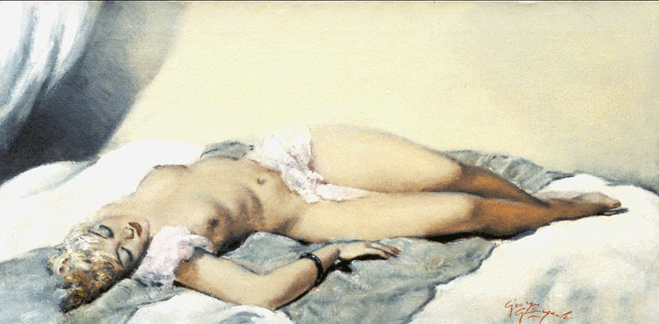 Georges Pierre Guinegault | Reclining nude, oil on canvas, 40.2 x 81.5 cm, signed l.r.