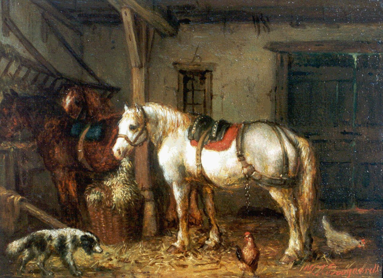 Boogaard W.J.  | Willem Johan Boogaard, Horses in a stable, oil on panel 16.1 x 22.0 cm, signed l.r.