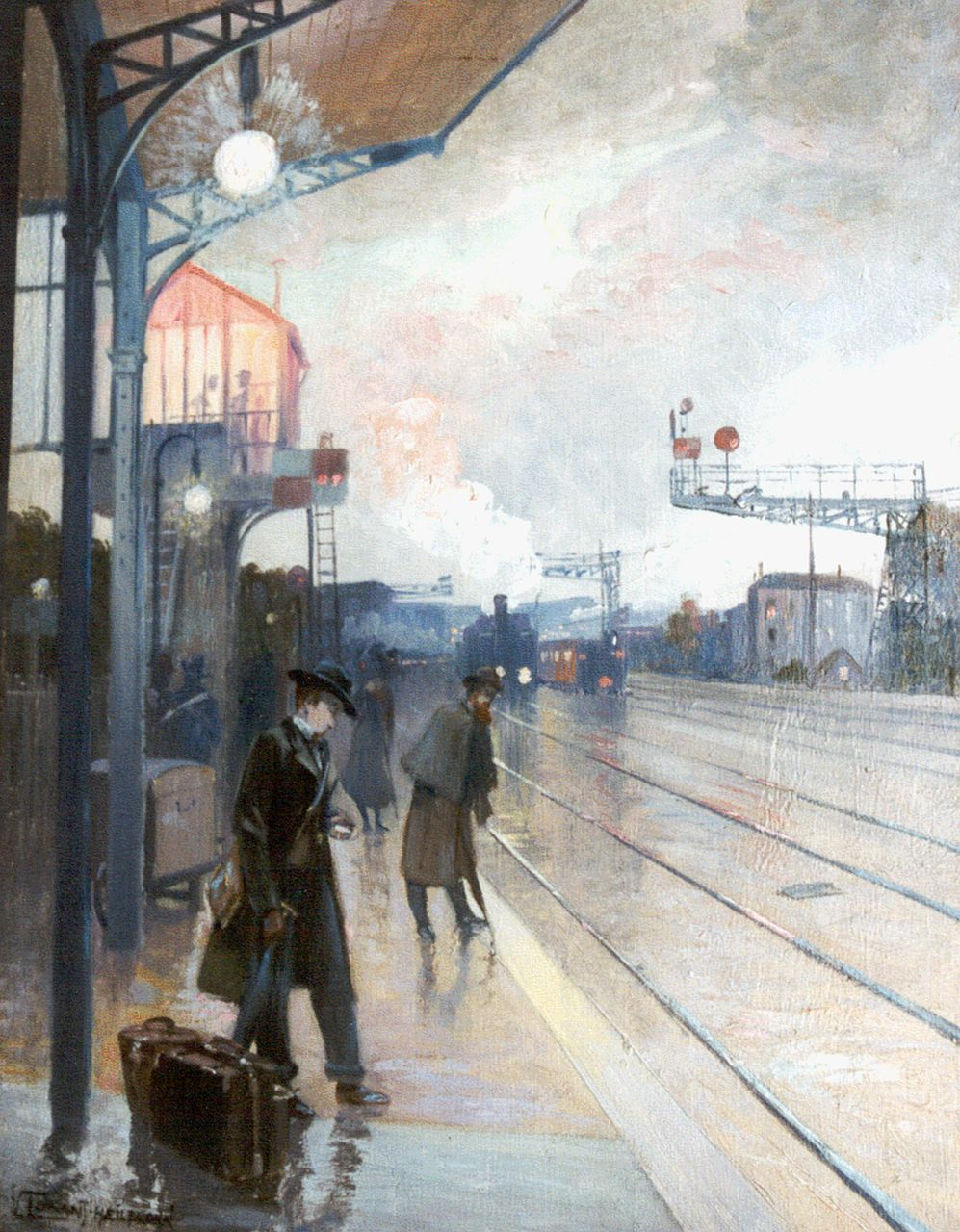 Vincent Lorant-Heilbronn | Station of Asnières, oil on panel, 35.0 x 26.8 cm, signed l.l. and dated 1900
