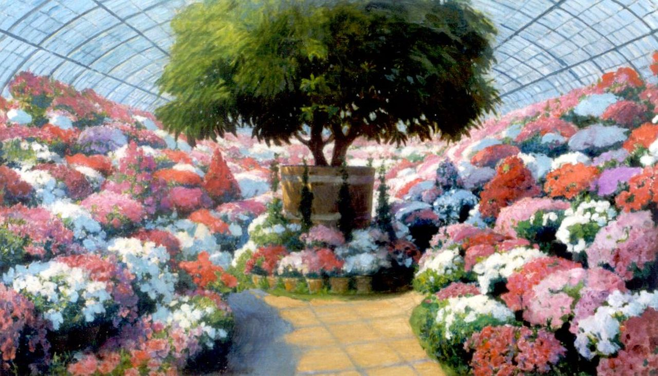 Franz Dvorak | Orangerie with blossoming flowers, oil on canvas, 75.0 x 128.0 cm, signed l.c.