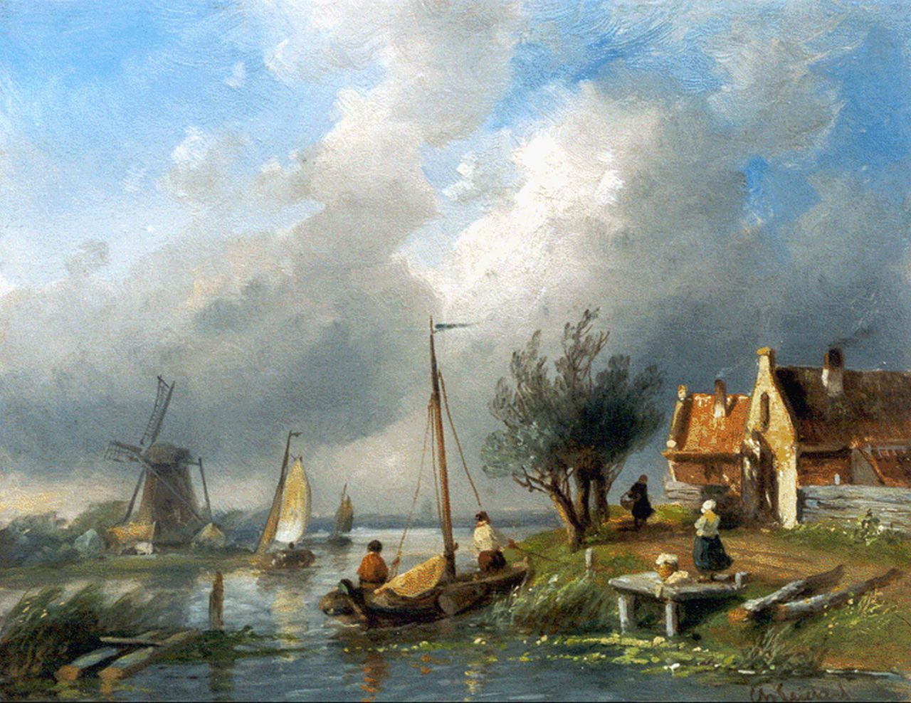 Leickert C.H.J.  | 'Charles' Henri Joseph Leickert, Sailing boats on a canal, oil on panel 21.7 x 27.1 cm, signed l.r.
