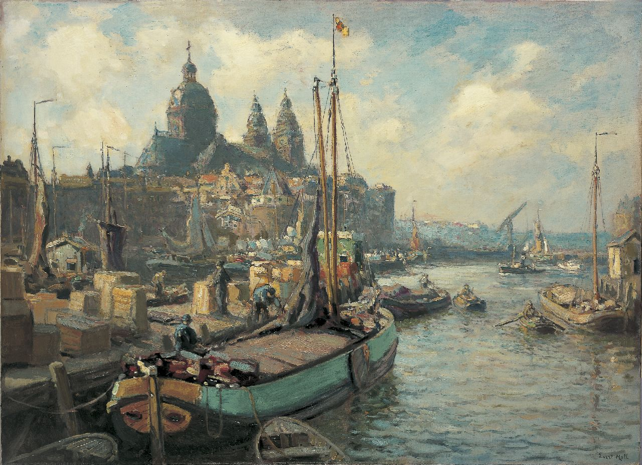 Moll E.  | Evert Moll, Moored boats, with the St.-Nikolaaskerk and the Scheierstoren beyond, Amsterdam, oil on canvas 80.3 x 110.6 cm, signed l.r.