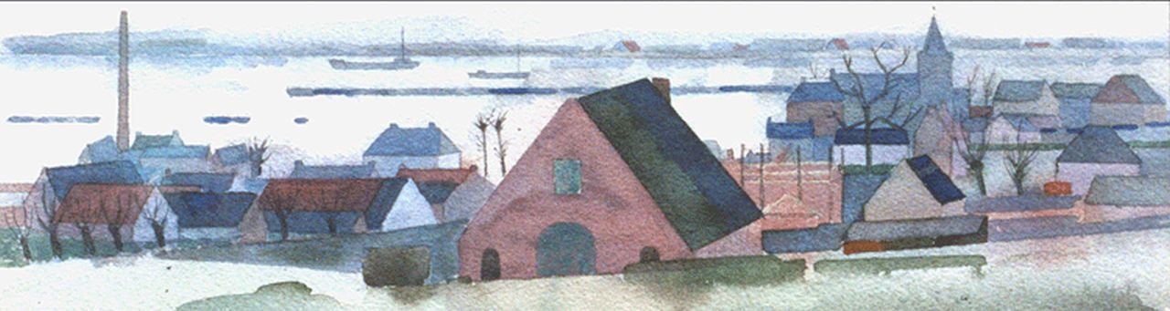 Bitter T.  | Theodorus 'Theo' Bitter, A view of the river Rhine at Oosterbeek, watercolour on paper 10.3 x 32.0 cm, signed l.l. and on the reverse and dated '52