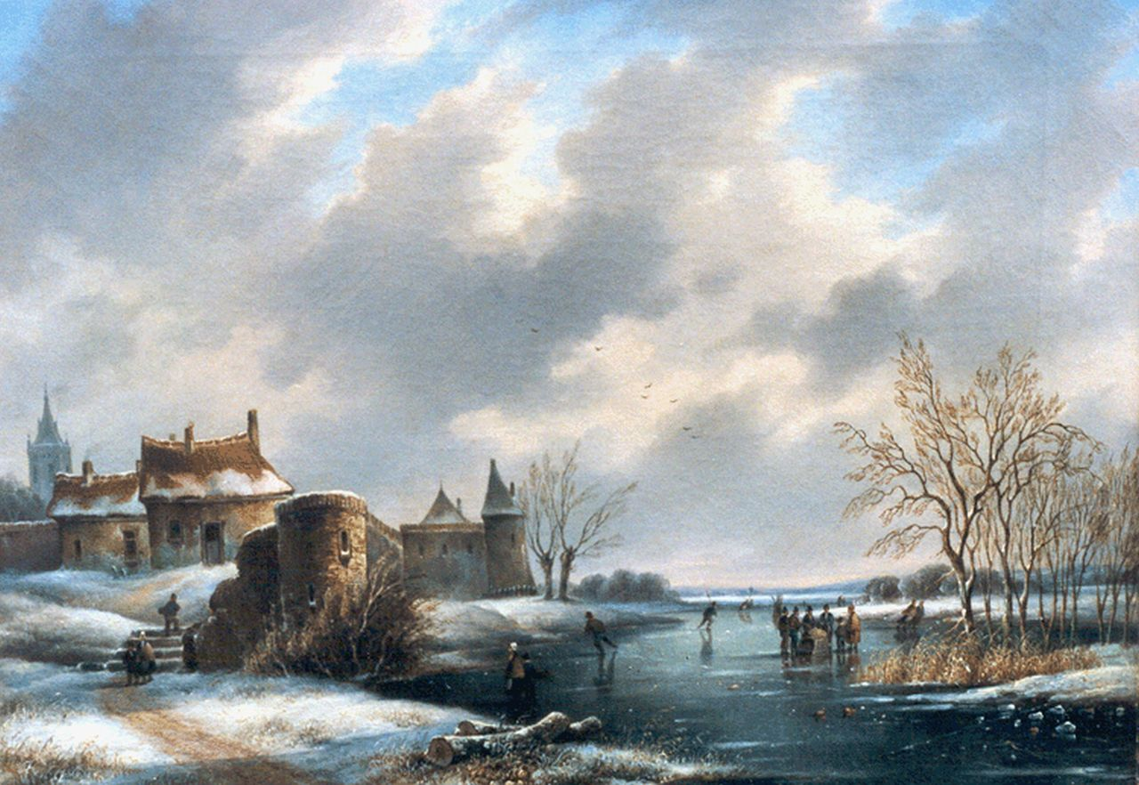 Hendriks G.  | Gerardus 'George Henry' Hendriks, Skaters on a frozen waterway, oil on canvas 42.2 x 56.3 cm