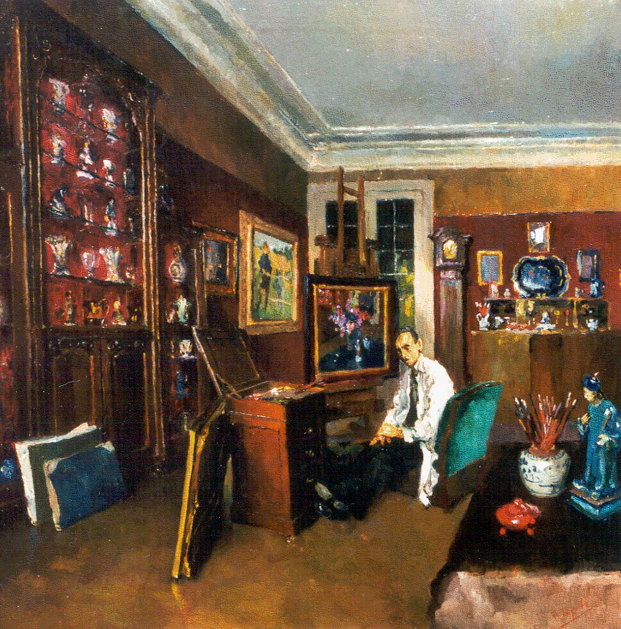 Engels L.  | Leo Engels, The artist's studio, oil on canvas 75.0 x 75.2 cm, signed l.r.