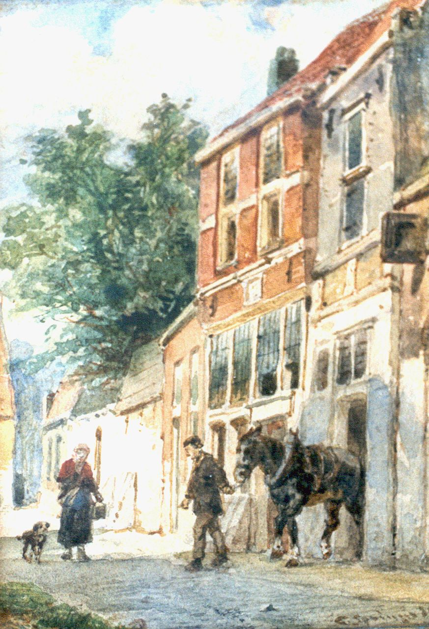Springer C.  | Cornelis Springer, A sunlit street, Culemborg, watercolour on paper 14.9 x 11.3 cm, signed l.r. and dated '89