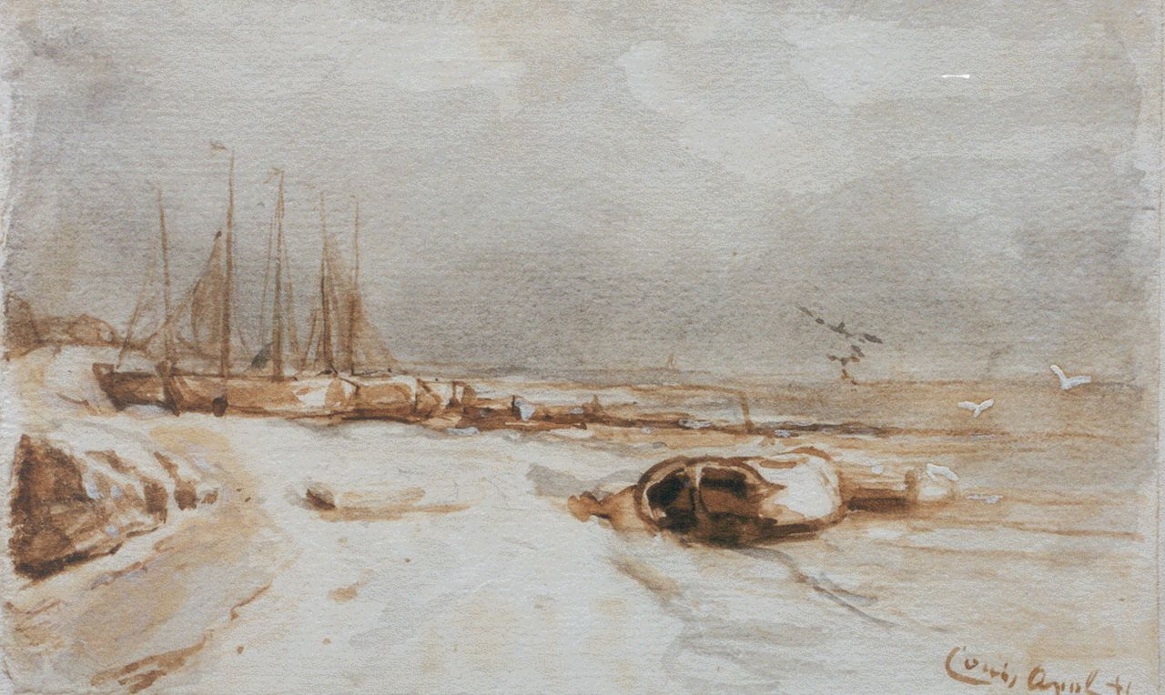 Apol L.F.H.  | Lodewijk Franciscus Hendrik 'Louis' Apol, Moored boats in winter, washed ink and watercolour on paper 11.0 x 18.0 cm, signed l.r.