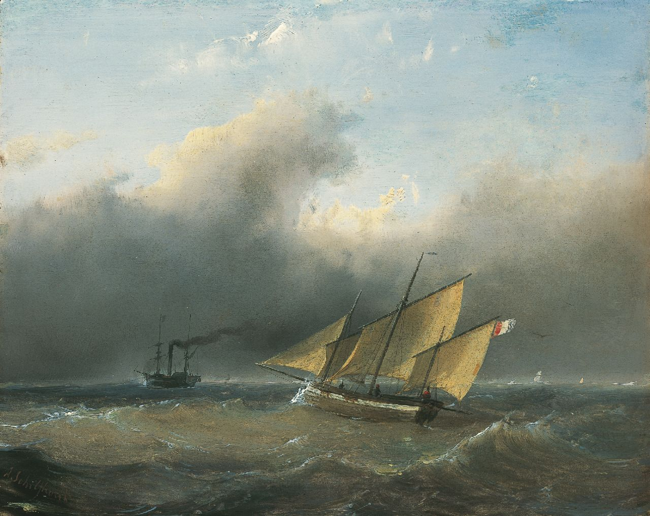 Schelfhout A.  | Andreas Schelfhout, Shipping on choppy waters, oil on panel 21.2 x 26.6 cm, signed l.l.