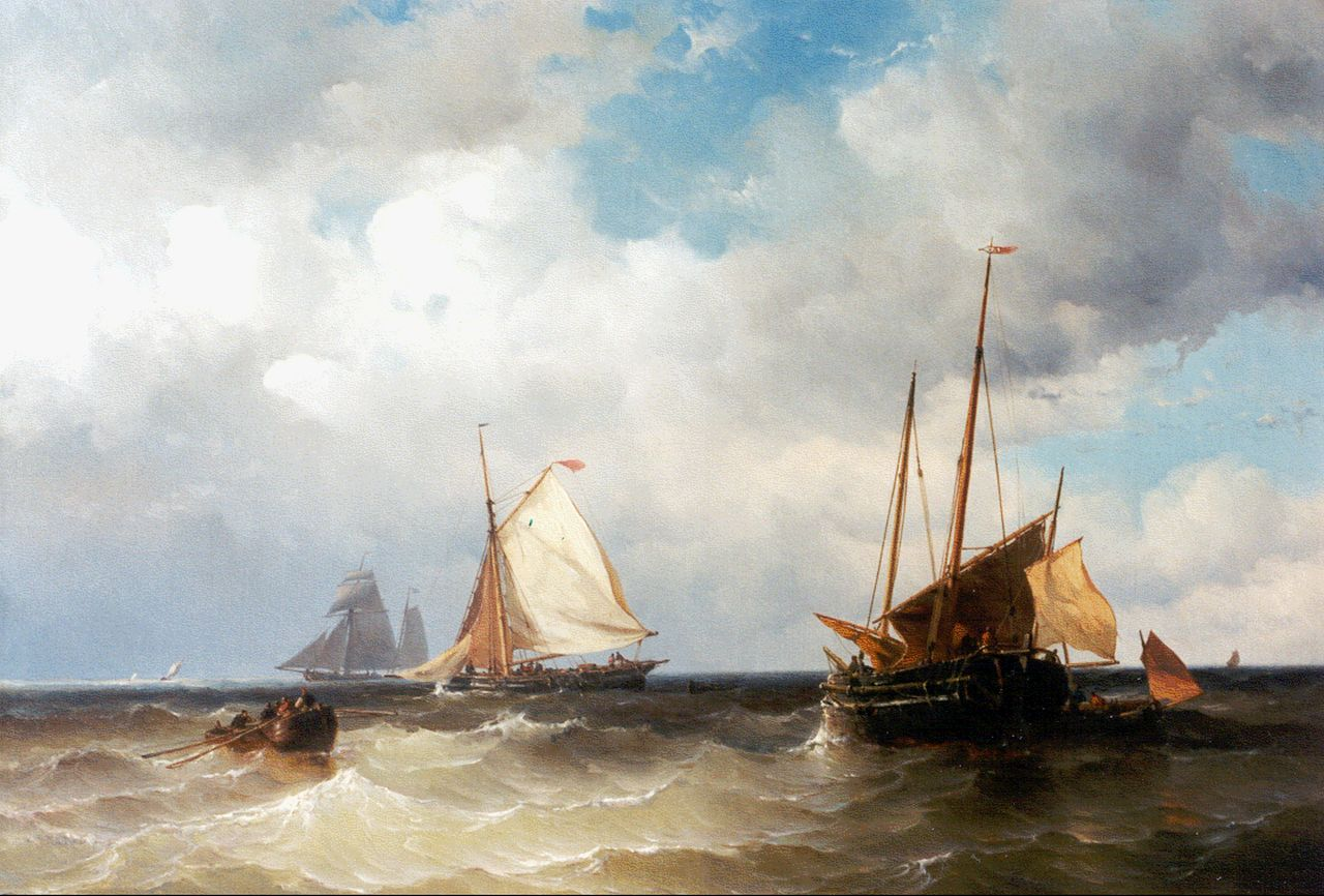 Maurits Frederik Hendrik de Haas | Shipping offshore, oil on canvas, 60.0 x 88.0 cm, signed l.r. and dated 1857
