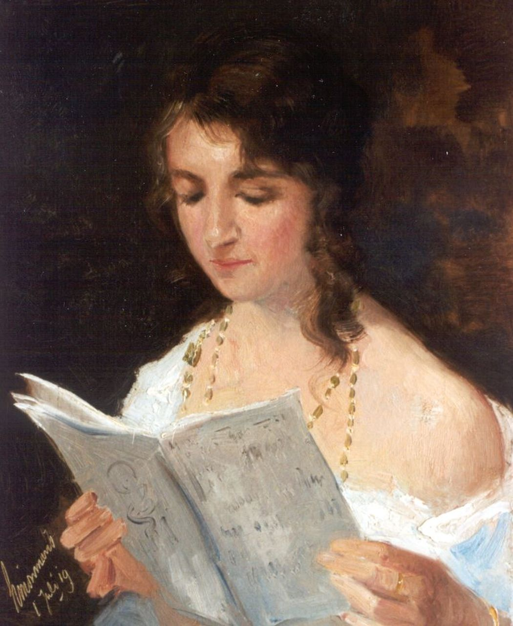Maris S.W.  | Simon Willem Maris, A girl reading, oil on canvas 38.0 x 31.3 cm, signed l.l. and executed on July 1st '19