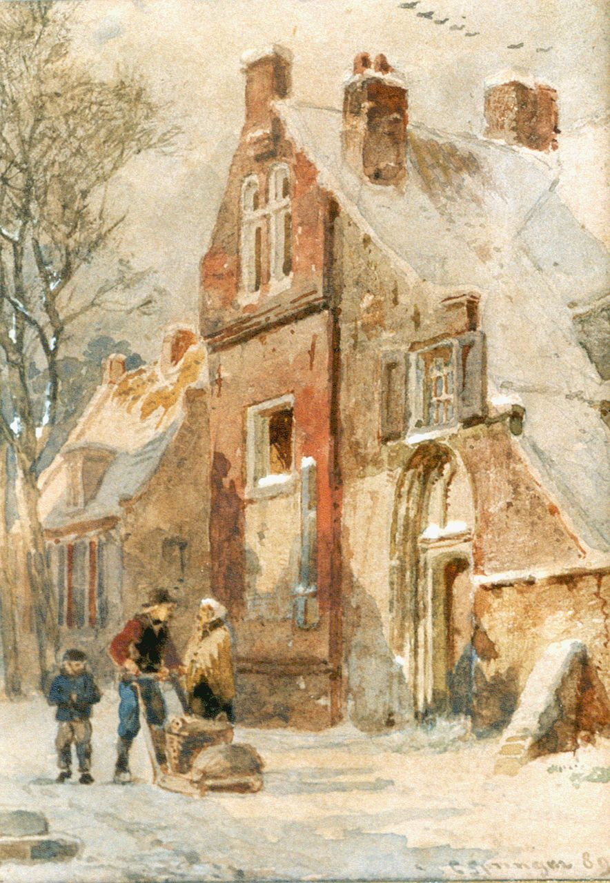 Springer C.  | Cornelis Springer, Hattem in winter, watercolour on paper 14.5 x 11.0 cm, signed l.r. and dated '89
