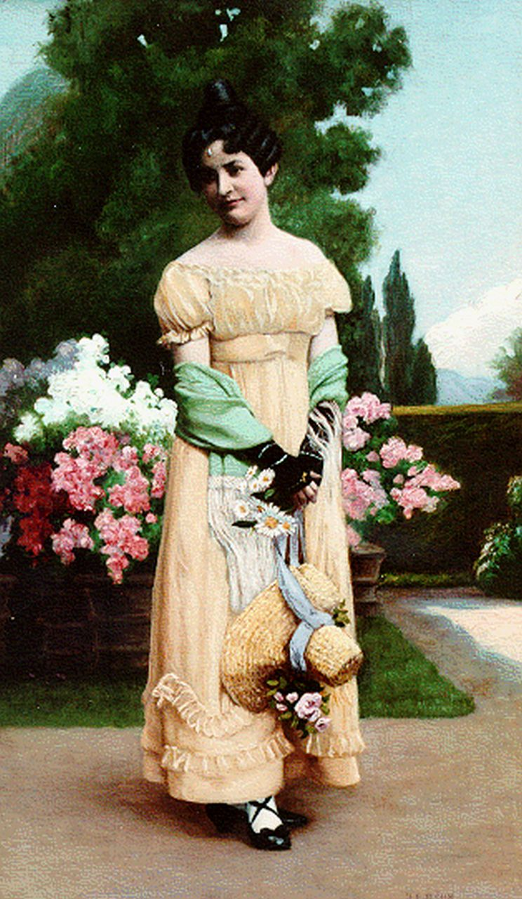 Francois-Jean-Emmanuel Böhm | An elegant lady in a garden, oil on panel, 46.0 x 27.2 cm, signed l.r.
