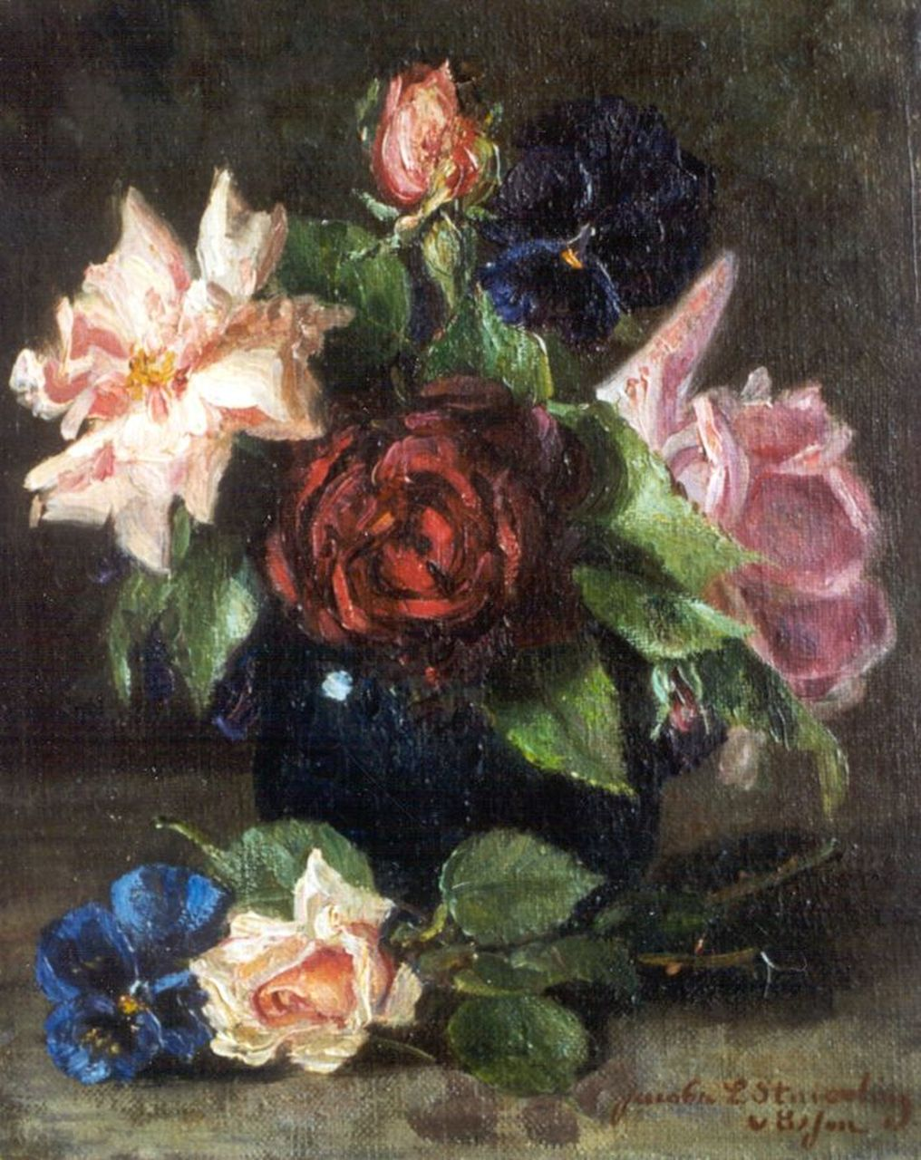 Jacoba L. van Essen | A still life with roses, oil on canvas, 25.2 x 20.2 cm, signed l.r.