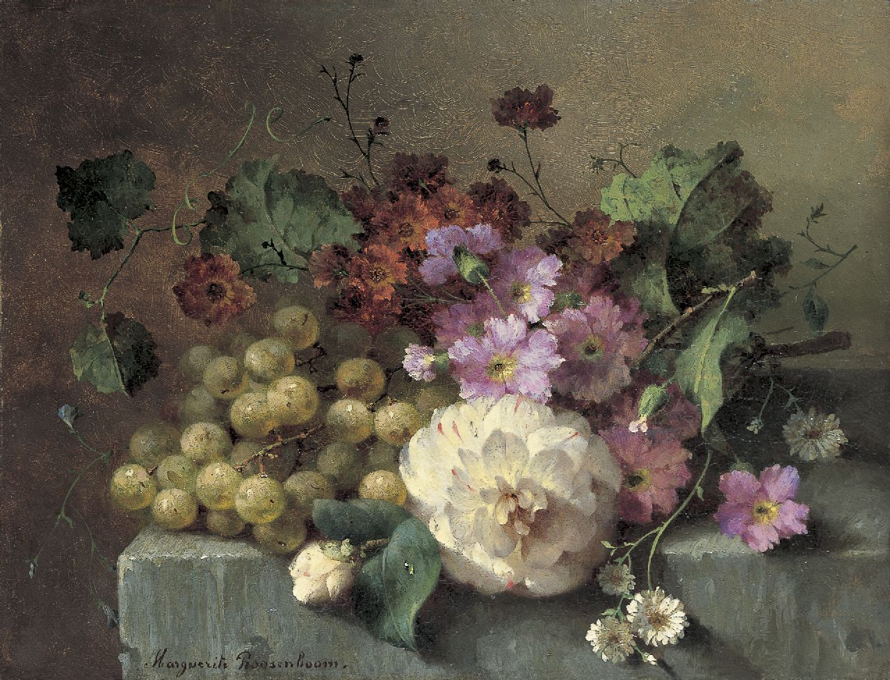 Roosenboom M.C.J.W.H.  | 'Margaretha' Cornelia Johanna Wilhelmina Henriëtta Roosenboom, Flowers and grapes on a stone ledge, oil on panel 26.0 x 33.9 cm, signed l.l.