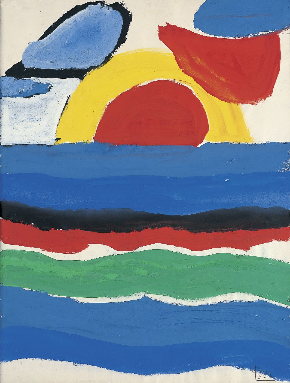 Benner G.  | Gerrit Benner, Sunset, gouache on paper 61.5 x 47.4 cm, signed l.r. and painted circa 1954